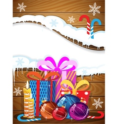 Christmas gifts baubles and candy canes vector