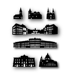 Collection of Building Silhouettes vector image