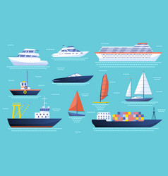 collection ships and sailboats on ocean vector image