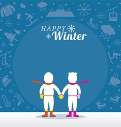 Couple in Snowsuit with Winter Icons Background vector