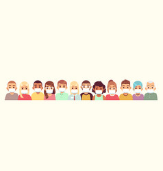 crowd people wearing medical masks person vector image