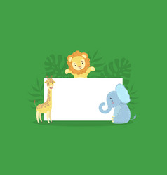 cute african animals holding empty banner vector image