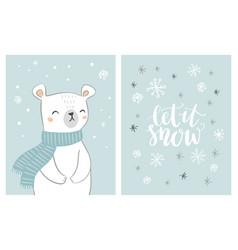 cute hand drawn polar bear card set with hand vector image