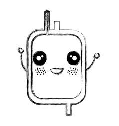 Donate blood bag kawaii character vector