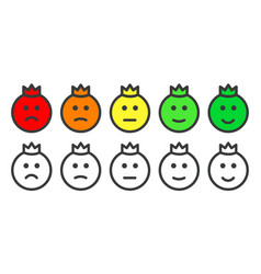 Emoji prince icons for rate satisfaction level vector
