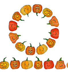 Endless brush and circle frame of cute halloween vector