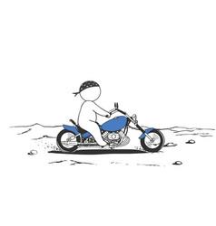 faceless man biker rides on motorcycle vector image