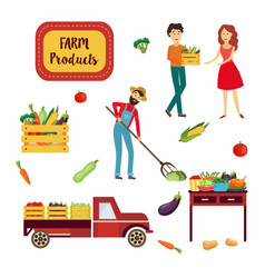 farm products set with various fresh ripe raw vector image