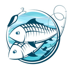 fish and fishing rod symbol vector image