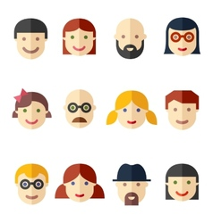 Flat avatars faces people icons vector