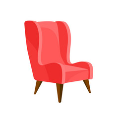 Flat of cozy bright pink armchair with vector