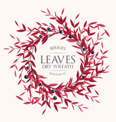 floral card with leaves and berries vector image