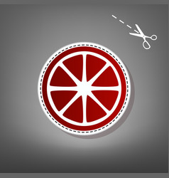 fruits lemon sign red icon with vector image