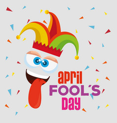 funny face expression with tongue to fools day vector image