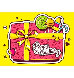 Gift box top view and confectionery with vector