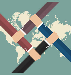 Global business teamwork vector
