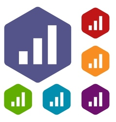 Graph rhombus icons vector