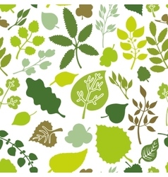 Green leavesbranches Silhouette seamless pattern vector image