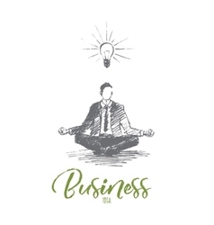 Hand drawn businessman sitting and meditating vector image