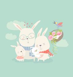 Happy cartoon rabbits family vector