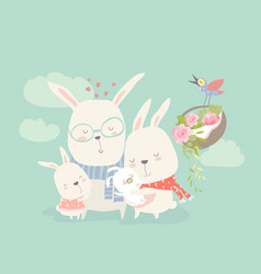 Happy cartoon rabbits family with vector