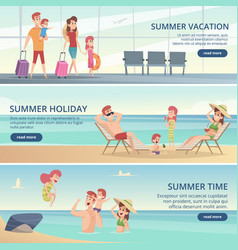 happy family travel banners summer vacation vector image