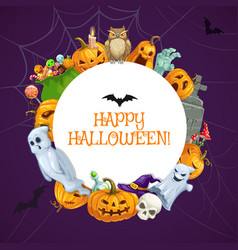 happy halloween horror night holiday monsters vector image