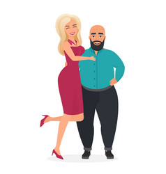 happy smiling cute man and woman character flat vector image