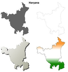 Haryana blank detailed outline map set vector image
