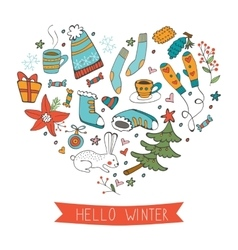 Hello winter cute hand drawn card with winter vector