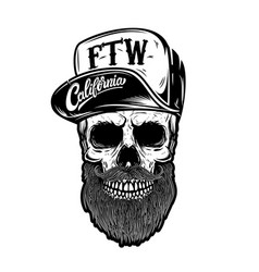 Hipster skull in baseball cap with lettering vector