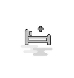 hospital bed web icon flat line filled gray icon vector image