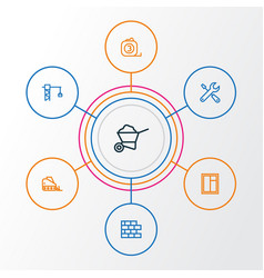 industry outline icons set collection of vector image