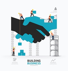 Infographic business handshake shape template vector image