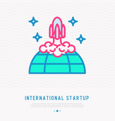 international start up thin line icon vector image