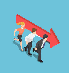Isometric business people carry an arrow and move vector