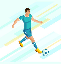 isometrics soccer player on a bright background of vector image