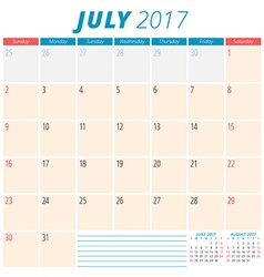 July 2017 Calendar Planner for 2017 Year Week vector