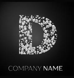 Letter d logo silver dots alphabet logotype vector