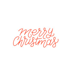 Merry christmas calligraphic line art typography vector