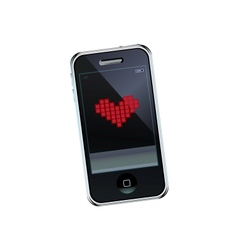 Mobile phone with heart vector