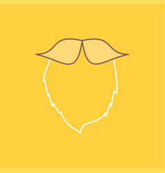 Moustache hipster movember beared men flat line vector