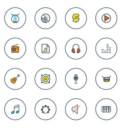 Multimedia icons colored line set with drum notes vector