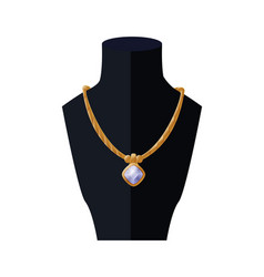 Necklace with huge sapphire golden women accessory vector