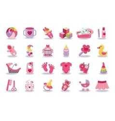 Newborn baby girl icons setbaby shower kit vector