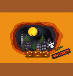paper art carving of halloween background with vector image