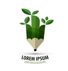pencil logo design template ecology or nature icon vector image vector image