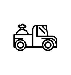 Pick up truck sack rural agriculture thick line vector