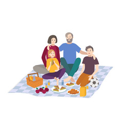Picnic family with children vector