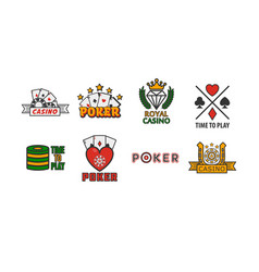 Poker game logo labels colorful set isolated on vector